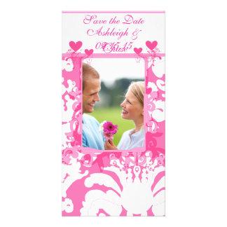 Elegant Pink Damask Save the DateYour Photo Custom Photo Card