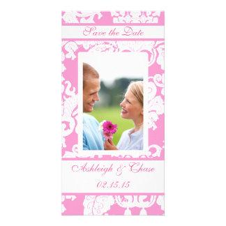Elegant Pink Damask Save the DateYour Photo Photo Greeting Card