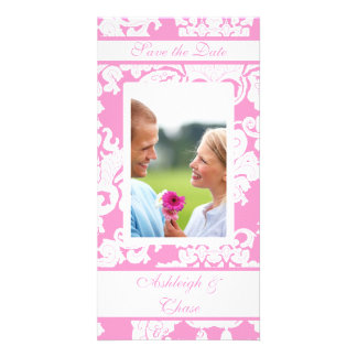 Elegant Pink Damask Save the DateYour Photo Picture Card