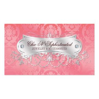Elegant Pink Damask Swirl Business Card Templates
