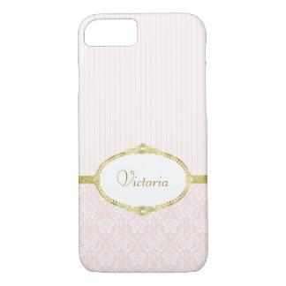 Elegant Pink Damask Vintage Gold Frame and Name iPhone 8/7 Case