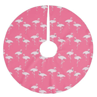 Elegant Pink Flamingo Christmas Brushed Polyester Tree Skirt