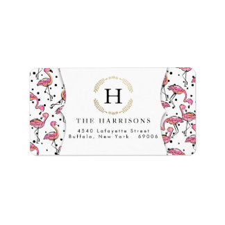 Elegant Pink Flamingo Dalmatian Dots Personalized Label