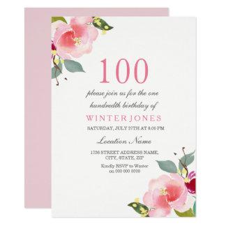 Elegant Pink Floral 100th Birthday Party Invite