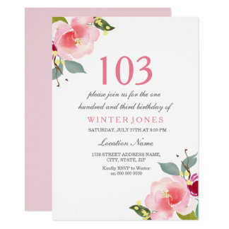 Elegant Pink Floral 103rd Birthday Party Invite