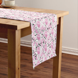 Elegant pink floral black splashes table runner