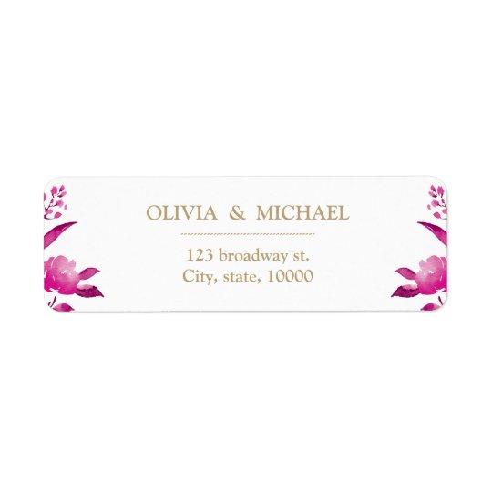Elegant pink floral Chinoiserie return address Return Address Label