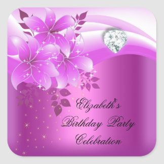 Elegant Pink Floral Diamond Birthday Party Any Age Square Sticker
