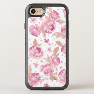 Elegant pink floral Pattern OtterBox Symmetry iPhone 8/7 Case