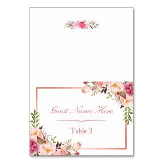 Elegant Pink Floral Rose Gold Wedding Place Escort Card