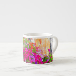 Elegant Pink Floral Shabby Chic Flowers Espresso Cup