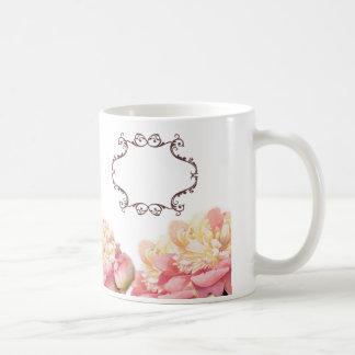 Elegant Pink Floral Wedding Favor Classic White Coffee Mug