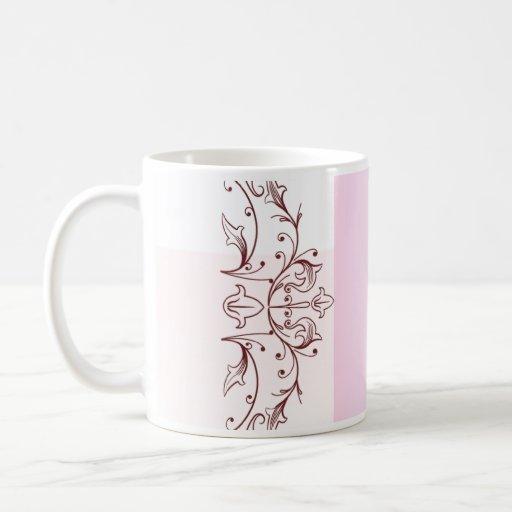 Elegant pink floral wedding gift coffee mugs