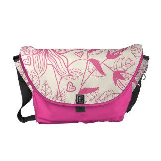 Elegant pink Flower Pattern Messenger Bags