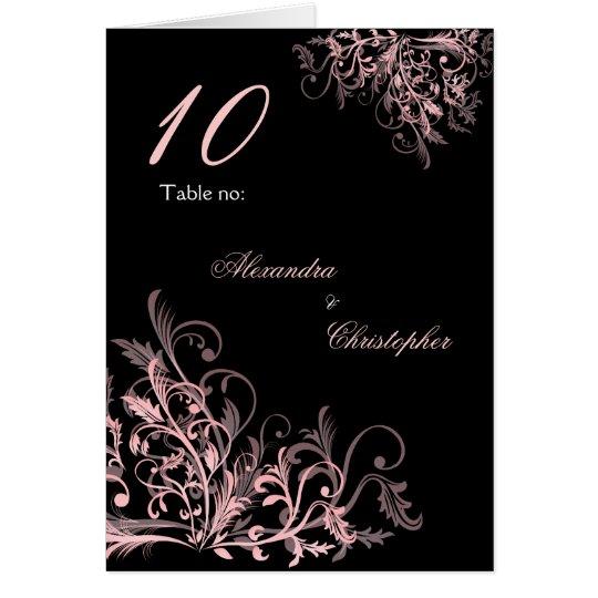 Elegant Pink Flower Swirls Table Number