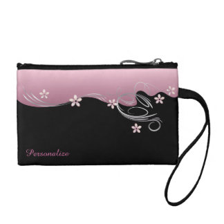 Elegant Pink Flowered Design Coin Purse