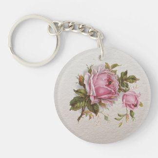 Elegant Pink Girly Vintage Cute Rose Keychain
