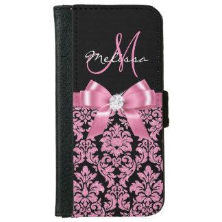 Elegant, Pink glitter Black Damask, Bow, Monogram iPhone 6 Wallet Case