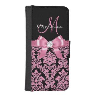 Elegant, Pink glitter Black Damask, Bow, Monogram iPhone SE/5/5s Wallet Case