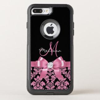 Elegant, Pink glitter Black Damask, Bow, Monogram OtterBox Commuter iPhone 8 Plus/7 Plus Case