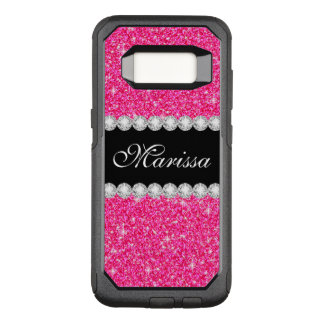 Elegant Pink Glitter Black OtterBox Commuter Samsung Galaxy S8 Case