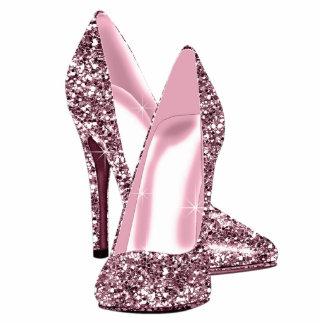 Elegant Pink Glitter High Heel Shoes Photo Sculptures