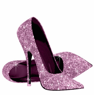 Elegant Pink Glitter High Heel Shoes Standing Photo Sculpture