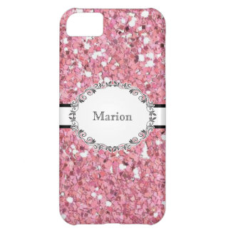 Elegant Pink Glitter Look Personalized Cover For iPhone 5C