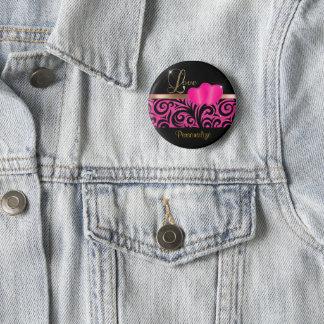 Elegant Pink Glitter Love   DIY Name 2 Inch Round Button