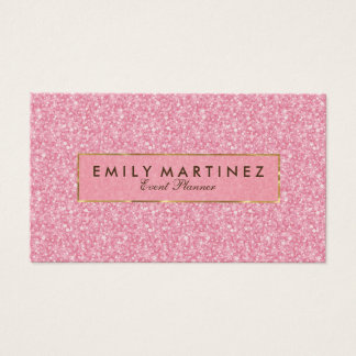 Elegant Pink Glitter& Sparkles Gold Accents Business Card