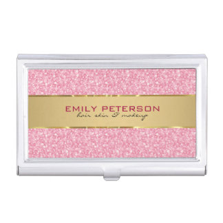 Elegant Pink Glitter With Gold Accents Business Card Holder