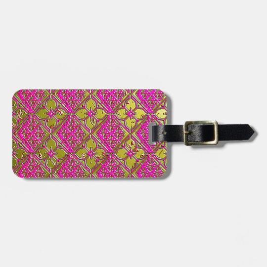 Elegant Pink & Gold Metallic Floral Luggage Tag