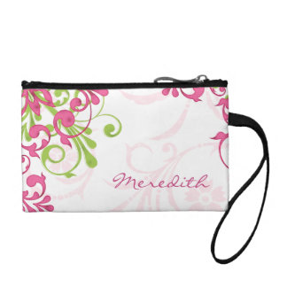 Elegant Pink Green Floral Personalized Coin Purse
