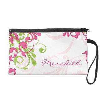 Elegant Pink Green Floral Personalized Wristlet