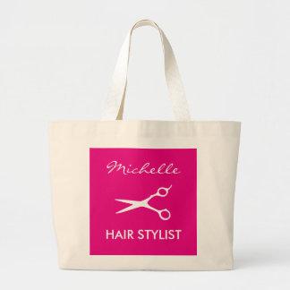 Elegant pink hairdresser tote bag for hair stylist