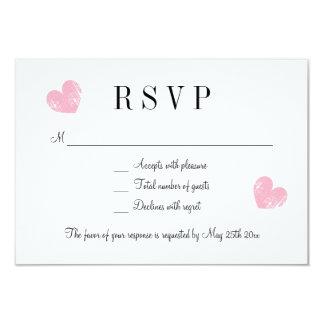 Elegant pink heart RSVP wedding response cards