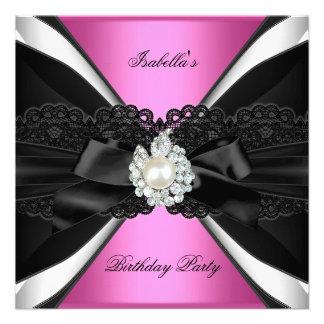Elegant Pink Jewel Black White Birthday Party Invites
