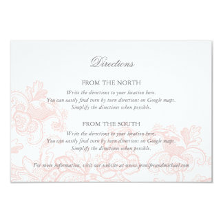 Elegant Pink Lace Wedding Directions Card