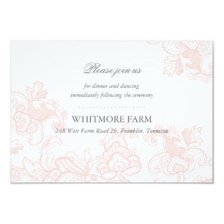 Elegant Pink Lace Wedding Enclosure Reception Card