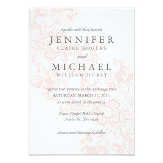 Elegant Pink Lace Wedding Invitation