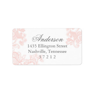 Elegant Pink Lace Wedding Label