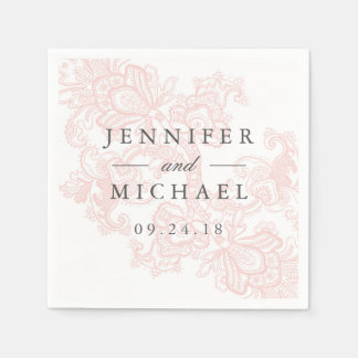 Elegant Pink Lace Wedding Paper Napkin