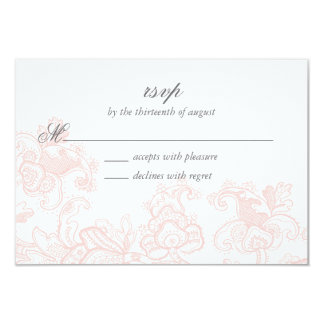 Elegant Pink Lace Wedding RSVP Card