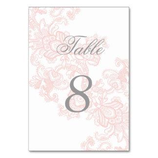 Elegant Pink Lace Wedding Table Number Card