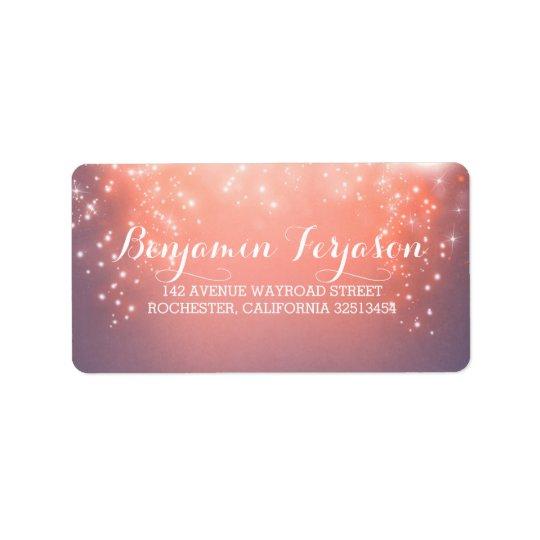 Elegant Pink Lights Wedding Label