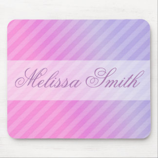 Elegant Pink Lilac Striped Chic Simple Mouse Pad