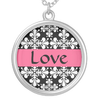 Elegant pink love silver plated necklace