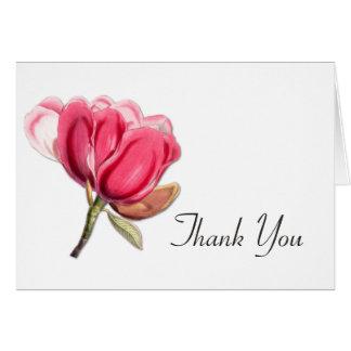 Elegant Pink Magnolia Wedding Thank You Card