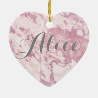 Elegant Pink Marble with Gray Name Ceramic Heart Ornament