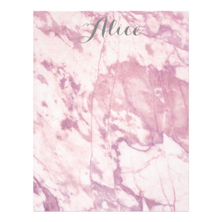 Elegant Pink Marble with Gray Name Letterhead